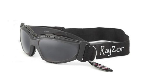 2012 Rayzor Professional UV400 Gun Metal Grey 2 In 1 Ski / SnowBoard Sunglasses / Goggles, With a Smoked Mirrored Anti-Glare Clarity Lens and a Detachable Elasticated Headband.