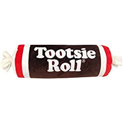 "Sweet Novelty Tootsie Roll 16 x 6"" Cylinder Candy Wrapper Embroidered Plush Pillow"