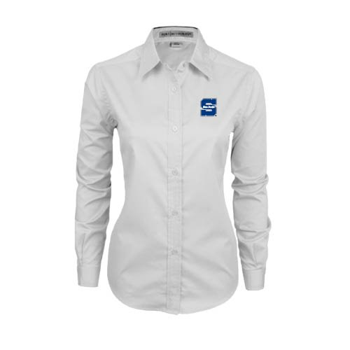 Uw Stout Ladies White Twill Button Down Long Sleeve 'S W/ Blue Devils' - Small