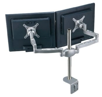 MDM05 Multi Screen Desk Clamp Mount Bracket: Stand With Dual Monitor Arms Hold Two VESA LCD LED Monitors Or TVs On One Desktop