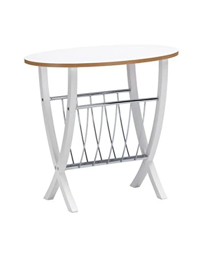 Baxton Studio Portici Side Table with Wire Magazine Holder, White As You See