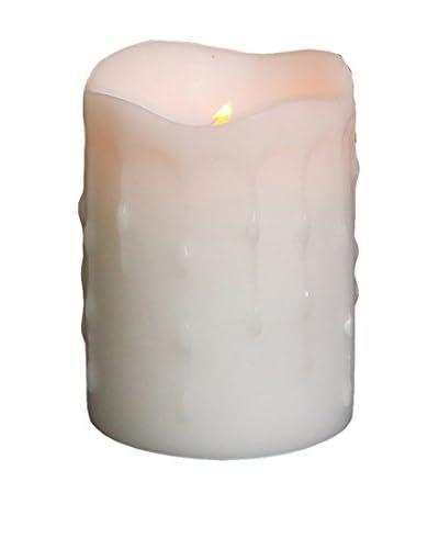 Melrose International 4 Flameless LED Pillar Drip Candle, White