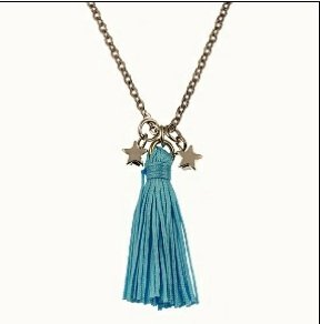 Tiny Silk Tassel and Stars Necklace - Light Blue/Silver