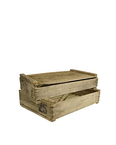 Uptown Down Set of 2 Rustic 1990s Wooden Egg Crates, Natural