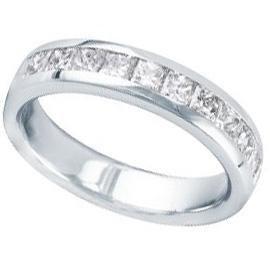1.25 ct Lady's Princess Cut Diamond Wedding Band in 18 Karat White Gold