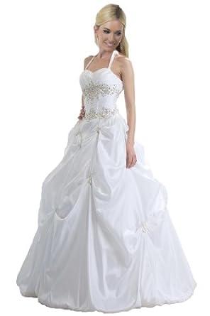 Faironly Xb6 White Wedding Quinceanera & Sweet Sixteen Dress (XS, White)