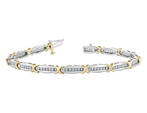 Diamond Bracelet 1.0 Carat (ctw) in 10K White and Yellow Gold