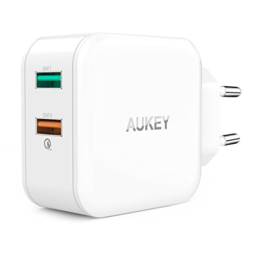 AUKEY-Quick-Charge-20-Cargador-Pared-Dual-Puerto-Puerto-5V24A-Puerto-Quick-Charge-20-para-Samsung-Galaxy-S7-S7-Edge-S6-HTC-One-A9-LG-G5-Motorola-Xiaomi-Huawei-Cable-Micro-USB-1m