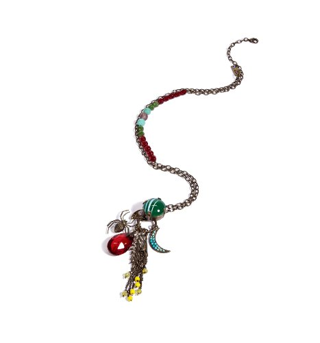Amaro Jewelry Studio 'Vintage' Collection Pendant Embellished with Moon, Spider and Feather Elements, Chinese Turquoise, Amazonite, Rhodonite, Blue Onyx, Pink Howlite, Yellow Jade, Green Jade, Amethyst, Swarovski Crystals