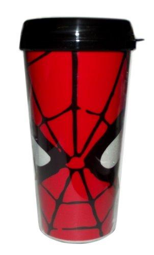 Silver Buffalo MC7087G Marvel Spiderman Eyes Glitter BPA-Free Plastic Travel Mug, 16 oz., Red