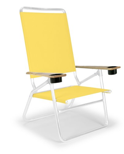 Telescope Casual Light And Easy High Boy Folding Beach Arm Chair With Cup Holders, Yellow With Gloss White Frame (Discontinued By Manufacturer)