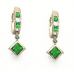 14ct Yellow Gold 5 mm Princess Clear and Green CZ Earrings