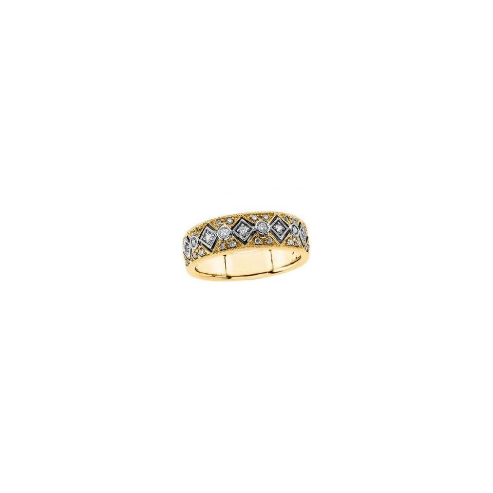 14k Two Tone Gold Diamond Bridal Anniversary Band Ring