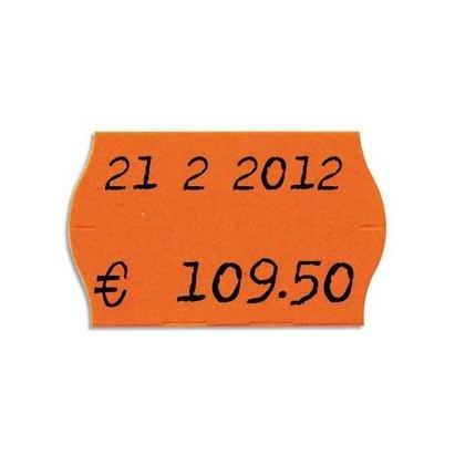 AGIPA Pack 6 rouleaux 1000 étiquettes oranges fluos sinusoïdales 26X16mm