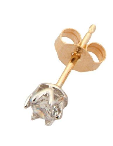 9ct Yellow Gold 4mm Cubic Zirconia Single Stud Earring