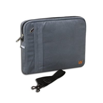 CaseCrown Faux Suede Protective Sleeve with Shoulder Strap and Pocket (Blue Grey) for the Apple iPad