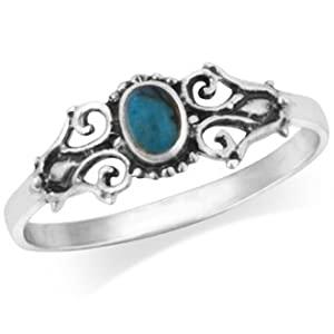 925 Sterling Silver Real Turquoise Victorian Style Filigree Ring by Mimi Silver