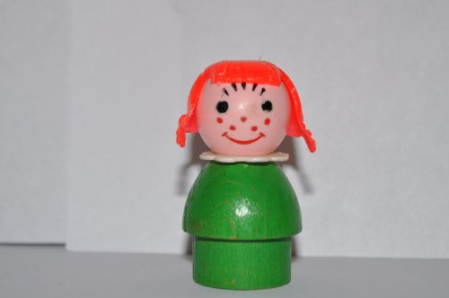 Vintage Little People School Girl With Red Hair, White Plastic Collar & Green Base (Plastic Head & Green Wooden Base) Retired Replacement Figure - Classic Fisher Price Collectible Figures - Zoo Circus Ark Pet front-111192