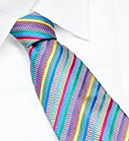 Sartorial Pure Silk Embroidered Striped Tie