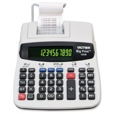 "Victor Technologies Products - 10-Digit Calculator, Thermal Printing, 7-3/4""x10""x2-1/2"" - Sold as 1 EA - Thermal printing calculator delivers extra large print that is 2.5 times standard print size when the LCD is set on 10-digit display. Calculator generates standard print size when switched to the 12-digit display. Two-color backlit display only switches from 10-digit to 12-digit. Digits turn red with negative numbers and green for positive numbers. Calculator prints 6.0 lines per second in bo"