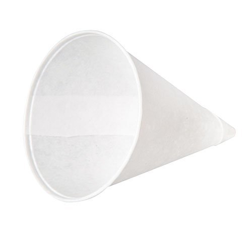Konie 40KR Rolled-Rim Paper Cone Cups, 4oz, White, 200/Bag, 25 Bags/Carton (Water Cooler Cups 4 Oz compare prices)