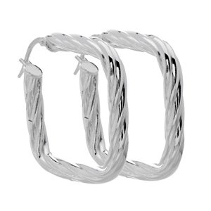 Italian Sterling Silver Twist Cushion Earrings