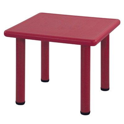 Ecr4Kids Square Plastic Kids Table Leg Height: 18, Color: Red