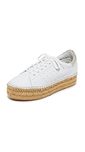 Steven Womens Pace Espadrille Platform Sneakers, White/Gold, 6 B(M) US
