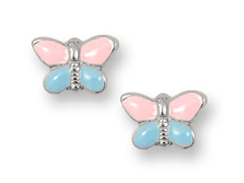 925 Sterling Silver Childrens Pink and Blue Butterfly Earrings LIFETIME WARRANTY