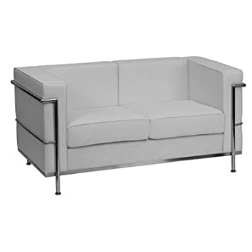UltraLounge? Contemporary Leather Love Seat w/Encasing Frame - White