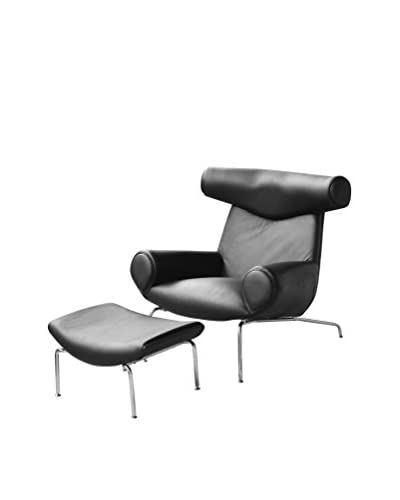 Manhattan Living Big Chair With Ottoman, Black/Gunmetal