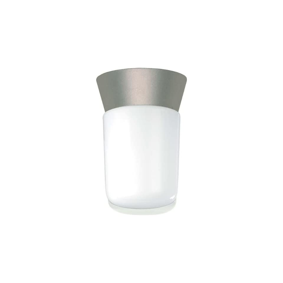 Nuvo Lighting SF77/155 Utility Fixture Die Cast Aluminum Durable Outdoor Close to Ceiling Porch and Patio Light with White Glass Cylinder, Satin Aluminum