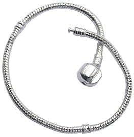 Bracelet pour perles Pandora -plaqué Argent - Taille: 18 cm ou 7 inches/pouces - convient pour toutes les perles pandora, chamilia et troll beads - Eclatant et lumineux!