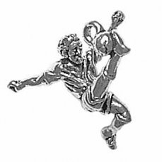 Sterling Silver 3D Male Soccer Player Kicking Ball Sports Charm