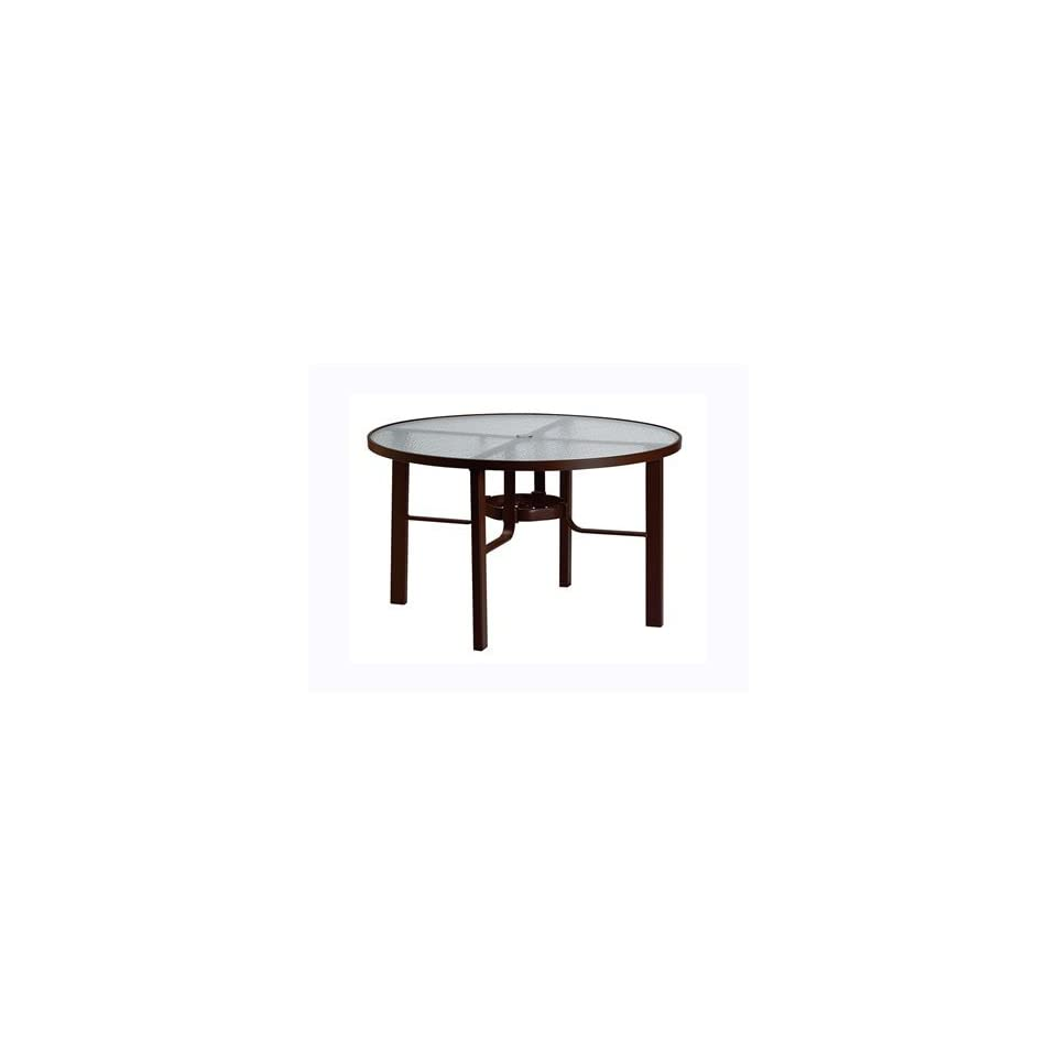 Tropitone Acrylic & Glass Cast Aluminum 48 Round Obscure Top Patio Dining Table