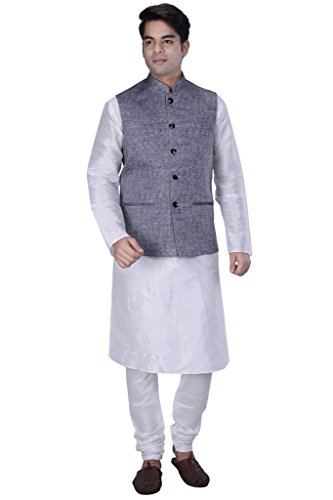 KISAH-Mens-White-Silk-Blend-kurta-and-Churidar-with-Grey-Linen-Nehru-Jacket