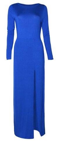 Womens Long Sleeved Side Split Maxi Dress (Bw) (4/6 (Uk 8/10), Royal Blue)