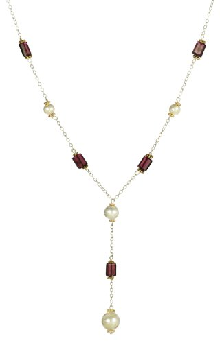 Sterling Silver Balls and Garnet Rectangles with Vermeil Accents Y-Shape Necklace, 18