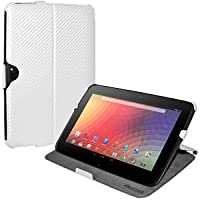 Amzer 95142 Shell Portfolio Case White Carbon Fiber Texture For Samsung Nexus 10, Google Nexus 10
