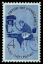 #1155 - 1960 4c Employ the Handicapped Postage Stamp Numbered Plate Block (4)