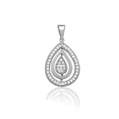 New Fashion Necklace Pendant Jewelry Sterling Silver Plated with Clear CZ and Silver Triple Marquise Design(WoW !With Purchase Over $50 Receive A Marcrame Bracelet Free)