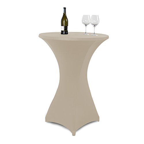 Vanage-Outdoor-Tischdecken-Strech-Husse-fr-StehtischeBistrotische-Tischdurchmesser-70-80-cm-beige