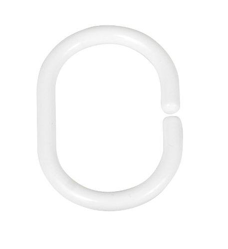 WENKO 19191100 Duschvorhangringe Weiß - 12er Set, klein, Kunststoff, Weiß