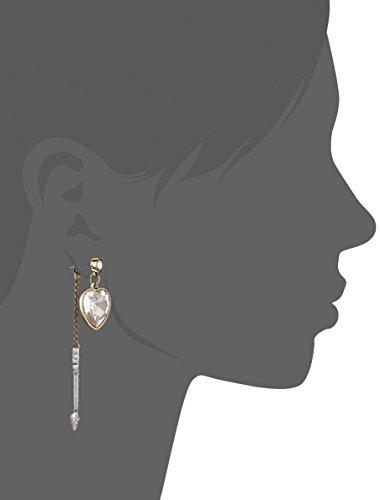 "Betsey Johnson ""Beaded Heart"" Heart Arrow Front and Back Mismatch Drop Earrings"