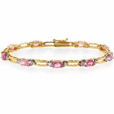 18K Gold over Sterling Silver Genuine Diamond Accent and oval Pink Sapphire Tennis Bracelet