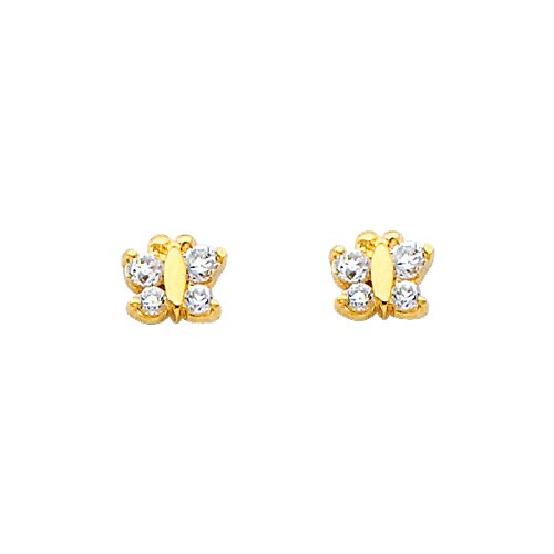 14K Yellow Gold Small Butterfly CZ Stud Earrings with Screw-Back for Baby & Children