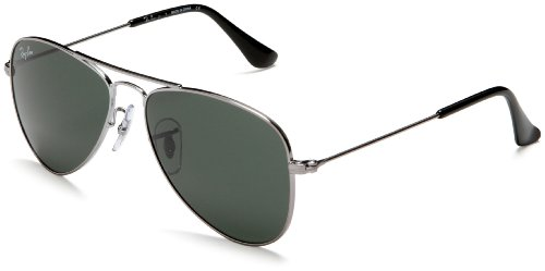 Ray Ban Junior Kids 9506s Silver Frame/Grey/Green Lens Metal Sunglasses