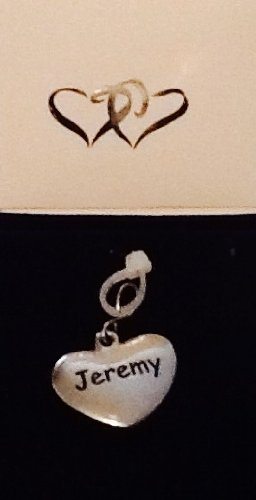 Jeremey ~ Silver-Tone Metal Personalized Name Charm! Heart Shaped! Top Quality ~ Name On Both Sides!