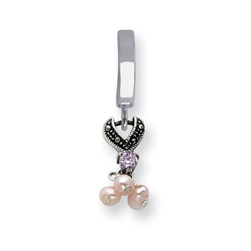 Sterling Silver Pink Cult Pearl & CZ Marcasite Dangle Tummy Toy