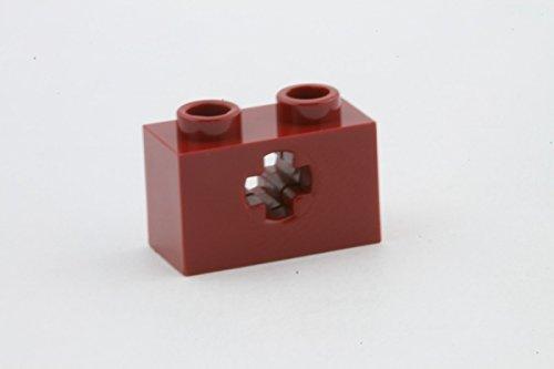 Lego Parts: Technic, Brick 1 X 2 With Axle Hole (Dark Red)